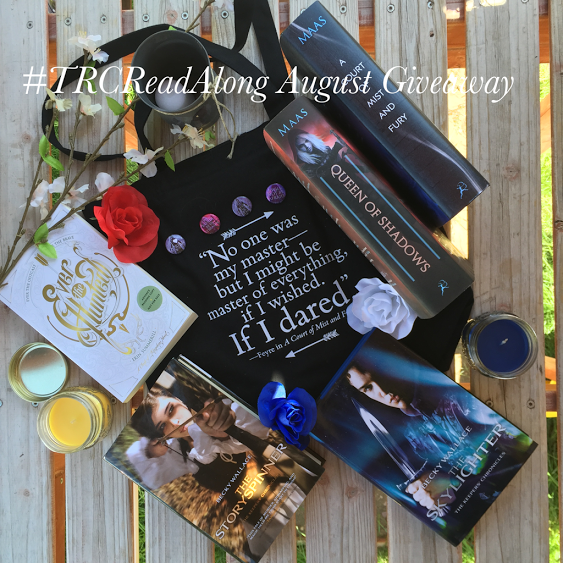 hardcover copies of The Story Spinner and The Skylighter by Becky Wallace, hardcover copies of Queen of Shadows and A Court of Mist and Fury by Sarah J Maas, and an ARC of Ever the Hunted by Erin Summerill
